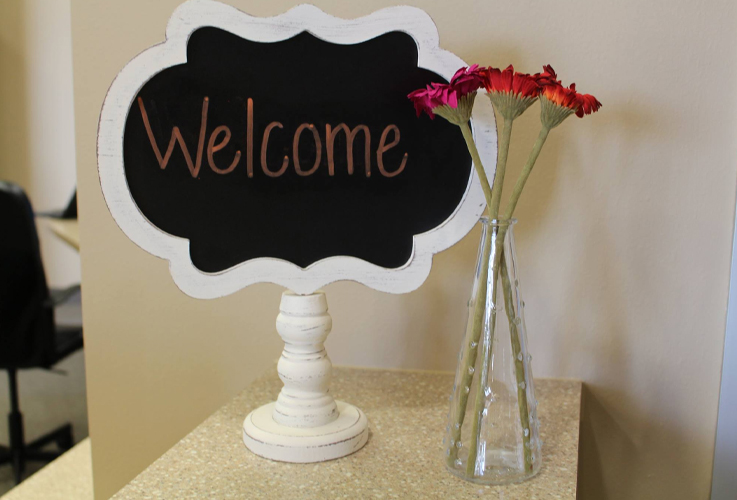 Welcome sign in reception area