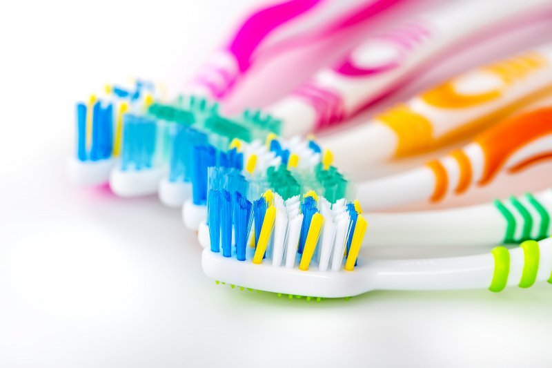 A series of toothbrushes.